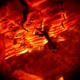 Texture of burning wood charcoal and flames with nail Royalty Free Stock Photography