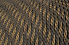 Texture: Cable. Close-up of thick metal cable on a spool. Useful for textures and backgrounds Royalty Free Stock Photo