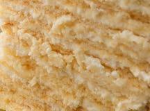 The texture of the cake. Piece of homemade tasty sponge cake. Stock Photos