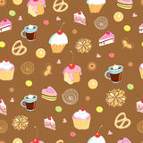 The texture of cakes. Seamless pattern of cakes and candies on a brown background royalty free illustration