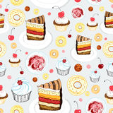 Texture of cakes. Seamless graphic pattern of cakes and sweets on a light gray background stock illustration