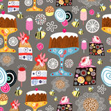 Texture of cakes. Seamless pattern of bright cakes on a brown background with flowers stock illustration