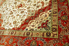 Texture of carpet. Texture of typical handmade carpet in Turkey stock photo