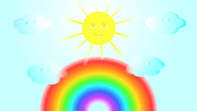 Texture of cartoon sun, rainbow and clouds Royalty Free Stock Photo