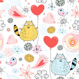 The texture of a cat lover. Seamless pattern with a cheerful cat lovers with a heart on a decorative background Stock Images