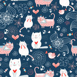 Texture of the cats. Seamless pattern of funny cats and flowers on a dark blue background Stock Photography