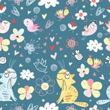 Texture cats and birds stock illustration