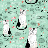 Texture with cats and fish. Seamless pattern with cats and fish on a green background with cloudsrn Stock Image