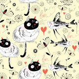 The texture of the cats and fish. Graphic pattern of seamless love cats and fish on a yellow background with plants Royalty Free Stock Images