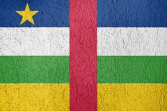 The texture of Central African Republic flag. Texture of Central African Republic flag on the wall of relief plaster royalty free stock images