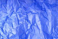 Texture chiffonnée bleue de papier de soie de soie image stock