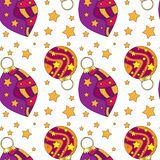 Texture with Christmas baubles and stars Royalty Free Stock Photo