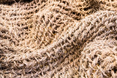Texture of coarse sack cloth. Close up Royalty Free Stock Images