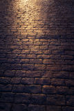 Texture of cobblestone at night Stock Photo