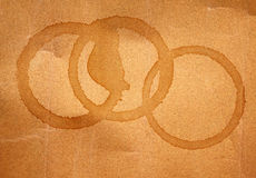 Texture of coffee cup stains on wrinkled brown paper for background Royalty Free Stock Photography