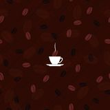 Texture coffee. Vector image texture of coffee beans and a cup with the inscription royalty free stock photo