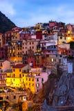 Texture colorée de ville de Manarola de Cinque Terre Images stock