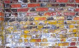 Old Brick Wall Features Assorted Colors, Rendering Interest, Texture, and Beauty stock image