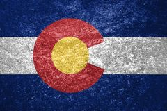 Texture of Colorado flag. The texture of the Colorado flag on a marble tile royalty free stock image