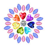 Texture of colored marquise & heart cut gems on white b. Ackground, vector illustration royalty free illustration