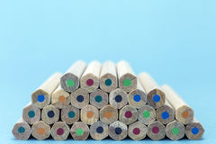 Texture of colored pencils. On blue background royalty free stock photos