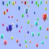 Texture of colorful balloons. Isolated background. Festive texture of colorful balloons flying up. Isolated blue background Royalty Free Stock Image