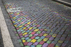 Texture of colorful cobblestones in Ponta Delgada Royalty Free Stock Image