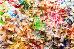 Texture of colorful pencil crayon shavings.  Stock Image