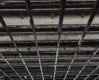 Texture of a concrete ceiling with wooden squares Stock Photography