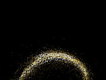 Texture with copy space on a black background. Round Spiral galaxy of golden star dust. Golden grainy abstract texture on a black background. Design element vector illustration