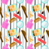 Texture - cosmetics, makeup, beauty, style, accessories. Professional makeup artist background. seamless pattern with lipstick an Royalty Free Stock Photo