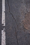 Texture of crack line on black road Royalty Free Stock Photos