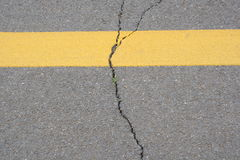 Texture of crack line on black road Royalty Free Stock Photography