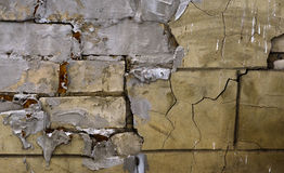 Texture of cracked cement brick wall. Rectangular background. Stock Photography