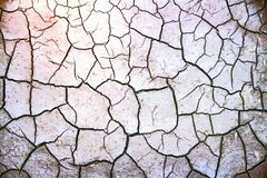Cracked Earth. Texture of the crackled white clay in the desert royalty free stock image