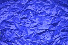Texture of crumpled blue paper stock photos