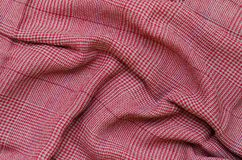 Texture of Crumpled Gingham Fabric. Stock Photos