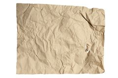 The texture of crumpled kraft paper. Isolated on white background Stock Photo