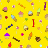 Texture cupcakes, ice cream and candy Royalty Free Stock Photos