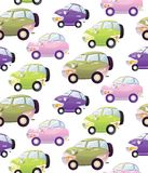 Texture with cute cartoon car with the headlights in a cartoon style. Royalty Free Stock Photo