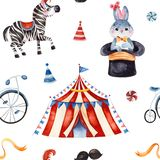 Texture with cute little bunny in a hat,zebra,circus tent,ribbon,bike. royalty free stock images
