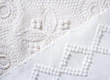 Texture d'instruction-macro de tissu de piqué de tricot de coton Photos libres de droits