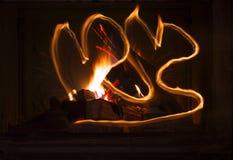 Texture d'un feu de flambage dans la cheminée image stock