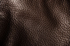 Texture of  dark brown leather Stock Photos