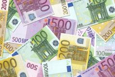 texture de 100 200 500 euro notes Image stock