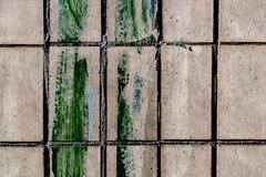 Texture de brique avec la calomnie verte de peinture Photographie stock libre de droits