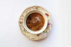 Texture de Coffe dans la tasse de porcelaine images stock