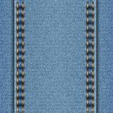 Texture de denim avec deux coutures parallèles Photographie stock libre de droits