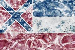 Texture de drapeau du Mississippi dans la piscine, l'eau photos stock