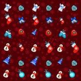 Texture de fête avec des attributs de la nouvelle année et du Noël Échantillon de l'affiche, invitation de partie, emballage cade illustration stock